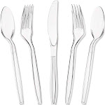 180 Pack Clear Plastic Silverware, Disposable Cutlery Utensils with Spoons, Forks and Knives, Heavy Duty Flatware Set for Parties & Events