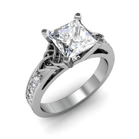 Celtic Knot Design Pave Natural Diamonds Engagement Ring