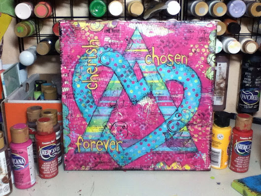 Adoption Symbol-Original Mixed Media Canvas Art-10x10