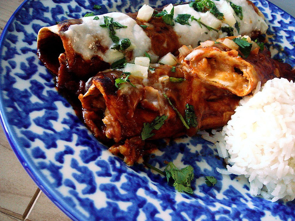 lentil filled enchiladas with homemade ancho chile sauce