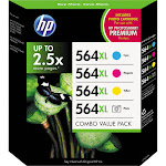 HP 564XL Combo Value Pack Ink Cartridge, Cyan/Yellow/Photo color/Magenta - 4-pack