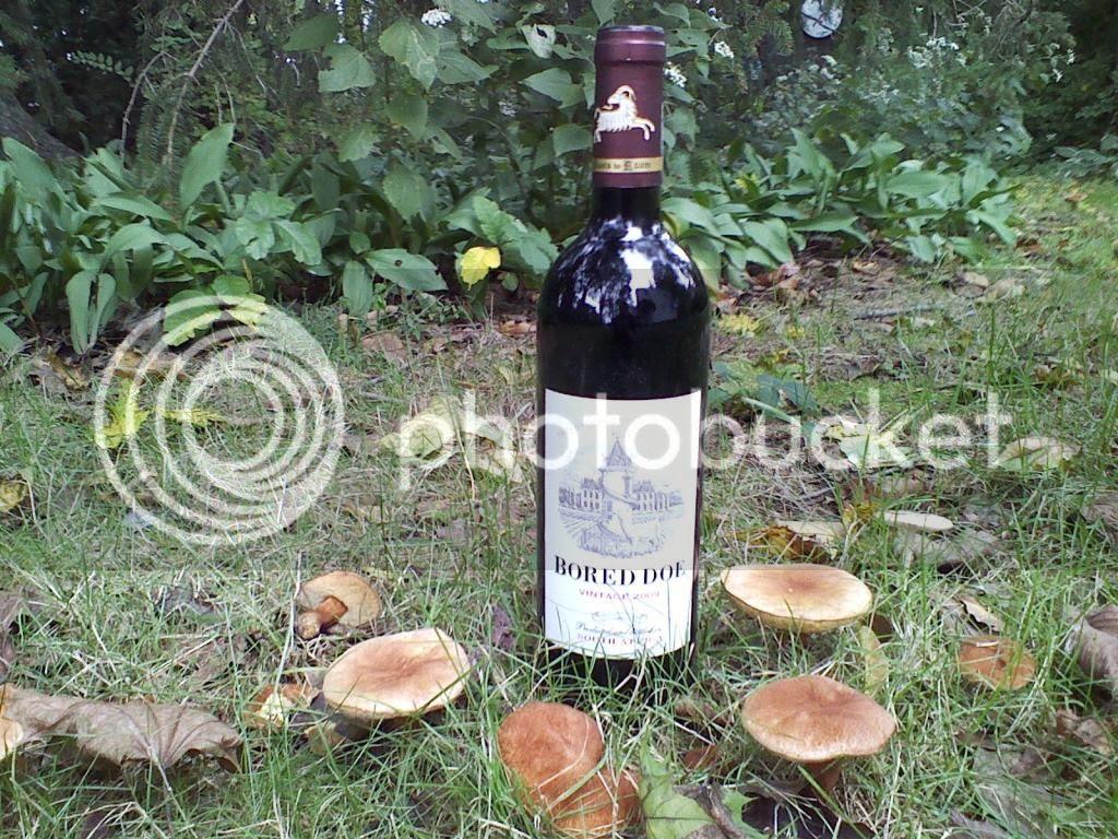 a bottle of red wine named 'Bored Doe'