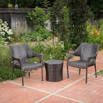 Christopher Knight Home Oxford Wicker 3 Piece Outdoor Stacking Chair Chat Set, Brown