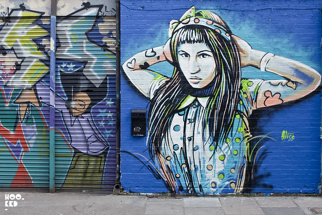 Alice Pasquini , Street Art Mural in SHoreditch,  London. Photo ©Hookedblog / Mark Rigney