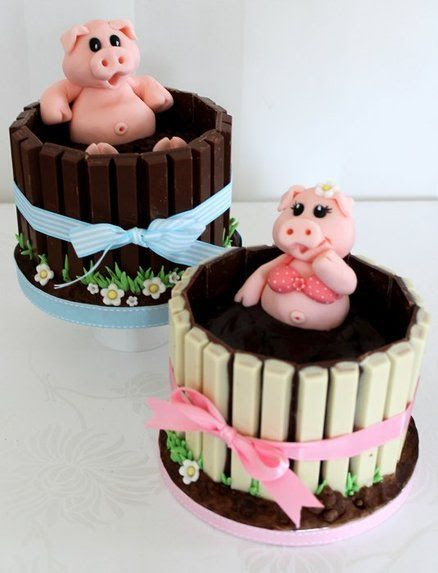Pigs in mud cup cakes