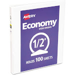 Avery Economy - Presentation ring binder - 8.5 in x 11 in - for 100 sheets - white