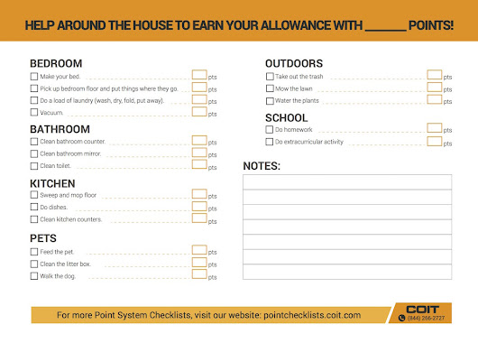 Earn Your Allowance Checklist - Kid-Friendly Checklist  | COIT