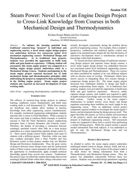 (PDF) Steam Power: Novel Use of an Engine Design Project