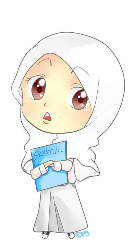 gambar kartun wanita berhijab  imut  lucu
