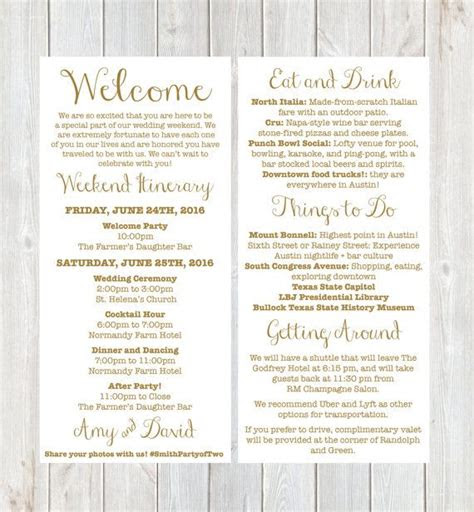 letter weekend itinerary wedding itinerary