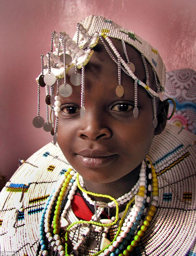 The end of childhood: A child bride is pictured in Tanzania. Alemtsayhe Gebrekidan has told of how she suffered a similar fate when she married age 10