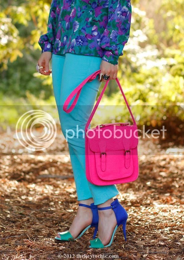 Xhilaration neon handbag, Zara color block heels
