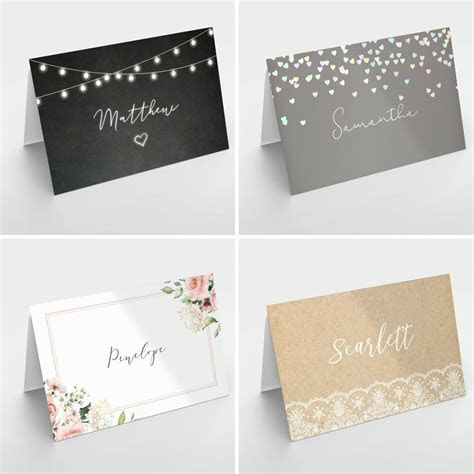 Personalised Wedding Table Place Name Setting Cards