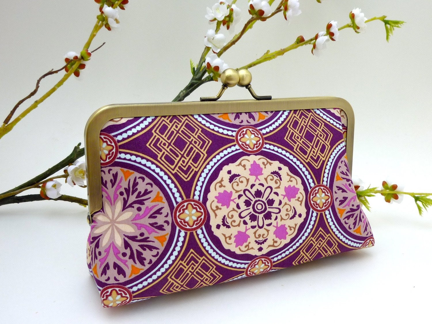 NEW- Purple Moroccan Tile KissLock Clutch