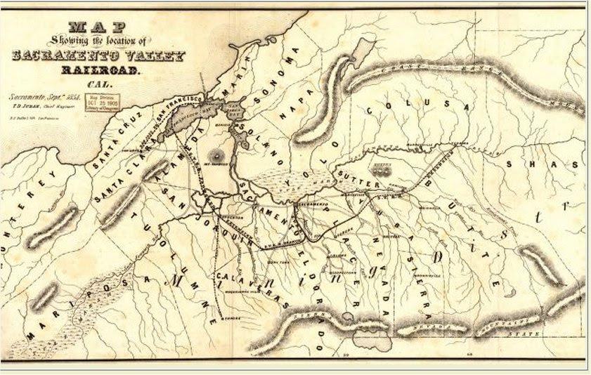 Sacramento Valley Railroad Map, 1854
