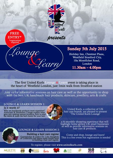 Upcoming Event: United Kurls Presents- Lounge and Learn Sunday 5th July @ Westfield Stratford