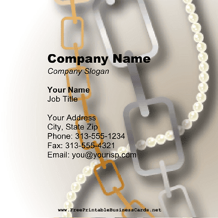 Jewelry Links Square Business Card