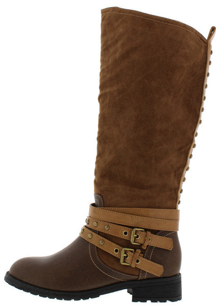 Brown Triple Tone Strap Embellished Knee High Boots