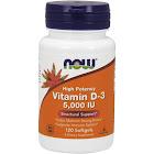 Now Vitamin D-3, High Potency, 5000 IU, Softgels - 120 softgels