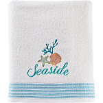 "Saturday Knight Ltd South Seas Ultra-Plush & Colorful Embroidery Bath Towel - 27x50"" White"