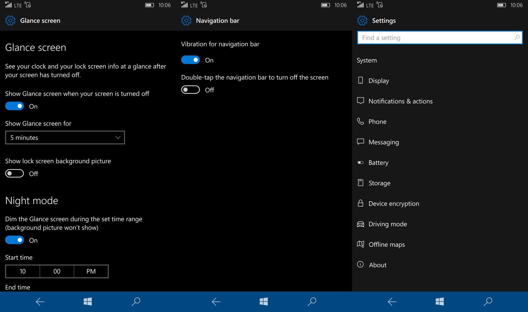 Setting Windows 10 Mobile