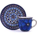 Polish Pottery UNIKAT Espresso Cup with Saucer 3 oz Cobalt Poppies Pattern by Ceramika Artystyczna