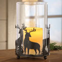 Northwoods Rustic Glass Candle Pillar Holder Decor