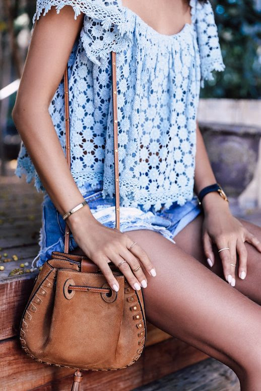 Le Fashion Blog Denim Shorts Eyelet Top Suede Bag Via Viva Luxury