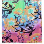 Pretty Abstract Multicolored Flowers Orange Shower Curtain