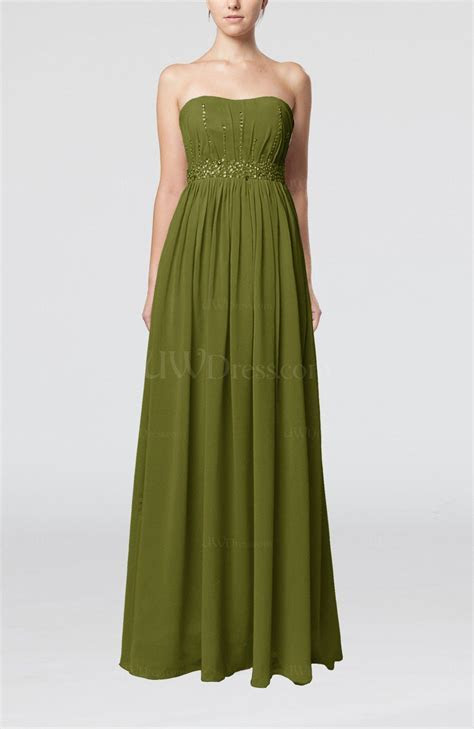 Olive Green Elegant Strapless Sleeveless Chiffon Sequin