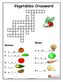 Easy Crossword Puzzles Online On Esl Vegetable Vocabulary Worksheets