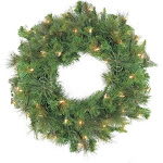 Pre-Lit Canyon Pine Artificial Christmas Wreath - 60-Inch, Clear Lights by Christmas Central