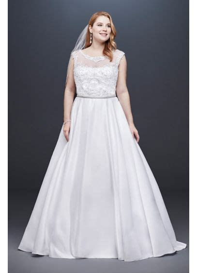 Satin Cap Sleeve Plus Size Ball Gown Wedding Dress   David