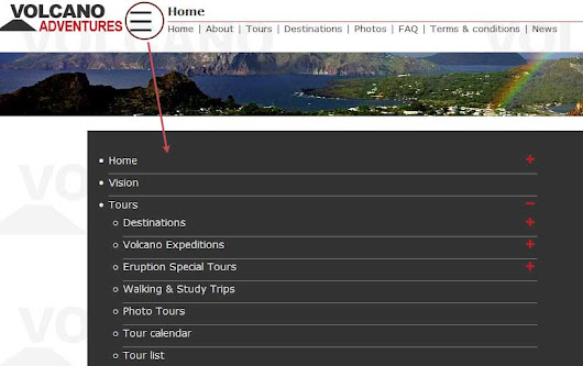 New menu for website Volcano-Adventures / VolcanoDiscovery