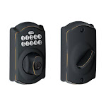 Schlage BE365V-CAM Camelot Single Cylinder Keyed Entry Deadbolt with Keypad Aged Bronze Deadbolt Keyless Entry Electronic