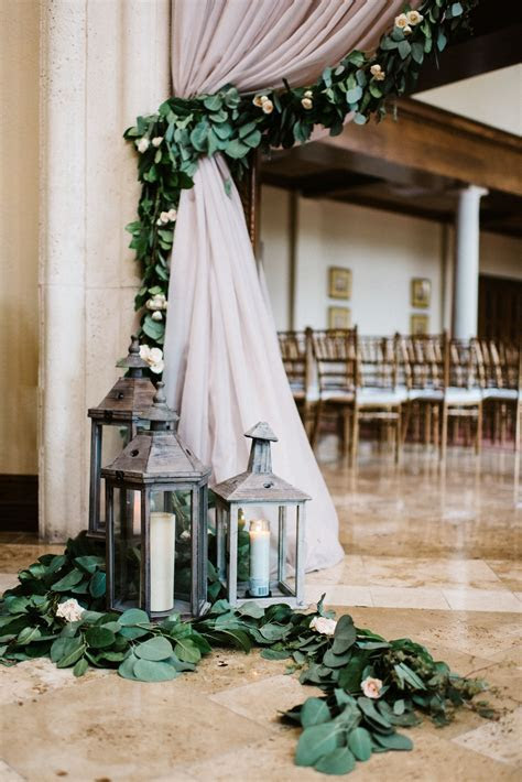 wedding entryway draping detail featuring full garland of
