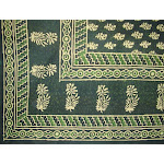 """Block Print Tapestry Cotton Spread or Tablecloth 90"""" x 60"""" Green"""
