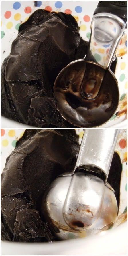 chocolate sorbet scoop