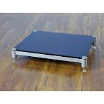 VTI BL404SSB-01 BL Series AMP Stand (Silver Cap Silver Pole Black Shelf)