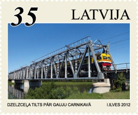 Pastmarka, kurā attēlots tilts pār Gauju Carnikavā.