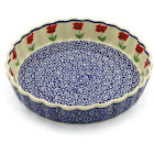 Polish Pottery Fluted Pie Dish 9 inch by Manufaktura