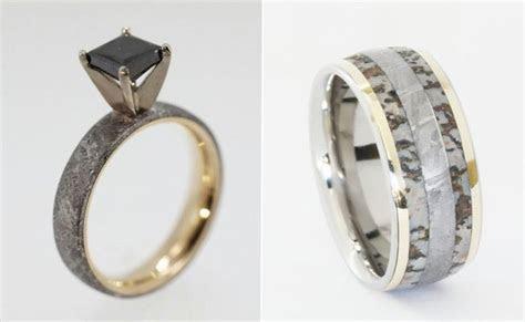 Wedding Rings Made Of Dinosaur Bone, Meteorite And Deer