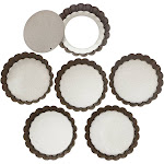 Webake 4 inch Quiche Pans Removable Bottom Mini Tart Set of 6