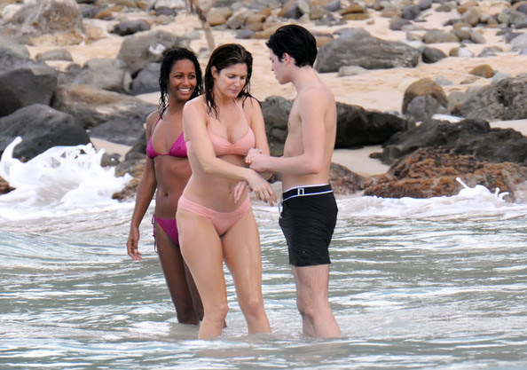 Peter Brant Jr. Actress and model Stephanie Seymour enjoying the beach with