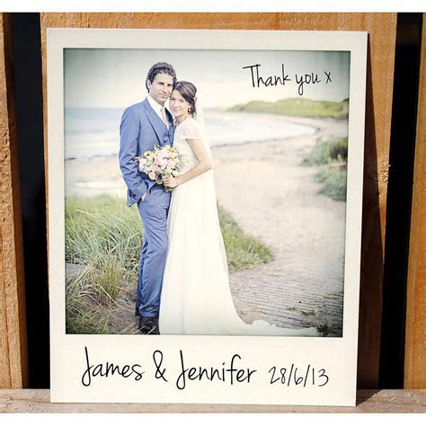 personalised polaroid wedding thank you cards by wedfest