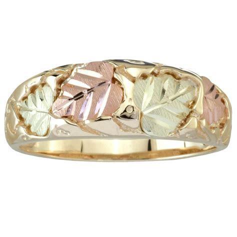 Tri Color 10K Black Hills Gold Men's Wedding Ring with 12K