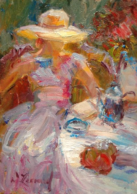 A Cup of Tea by Diane Leonard, one of America's most highly respected contemporary impressionists.