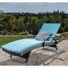 Toscana Outdoor Wicker Armed Chaise Lounge Chair with Cushion by Christopher Knight Home Grey/Blue Cushion