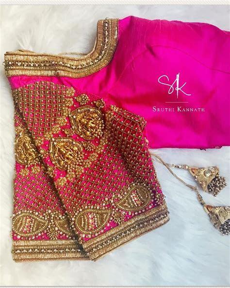 Stunning pink color bridal blouse with Lakshmi devi motifs