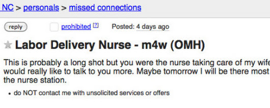 New Dad Uses Craigslist's Missed Connections to Hit on Nurse